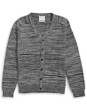 Melange Button-Front Cardigan