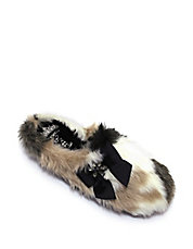 Patchy Faux-Fur Slippers