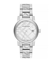 The City Silvertone Check Watch