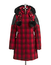 Fox Fur Trim Plaid Parka