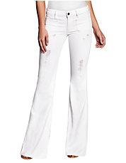 70s Mid-Rise Flare Jeans in Linen Wash with Destroy