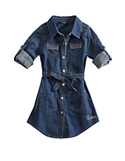 Denim Rhinestone Shirtdress