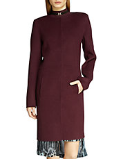 Double Faced Wool Collarless Coat