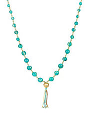 Turquoise and Seed Bead Tassel Necklace