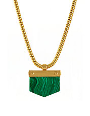 Goldplated Malachite Stone Necklace