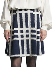 Woven Wool Windowpane Skirt