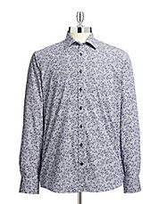 Baines Striped Floral Sport Shirt