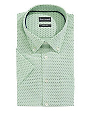 Short Sleeve Easy-Care Dotted Dress Shirt
