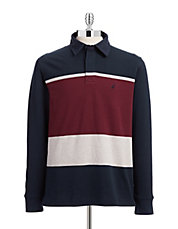Striped Long Sleeve Jersey Polo
