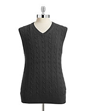 Cable Knit V-Neck Vest