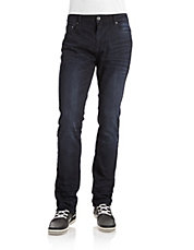 Whiskered Slim-Fit Stretch Jeans