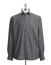 Easy-Care Grid Weave Sport Shirt