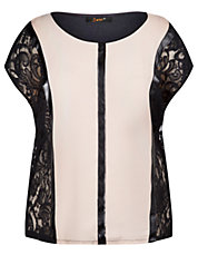 Plus Cap Sleeve Top with Lace Side Panels
