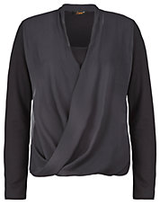 Plus Chiffon-Front Knit Top