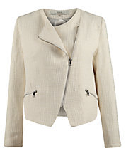 Bouclé Blazer With Asymetrical Zipper