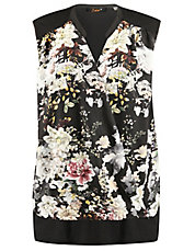 Plus Sleeveless Floral Crossover Top