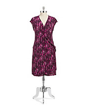 Plus Printed Crossover Dress