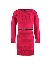 Knit Sweater Dress with Belt