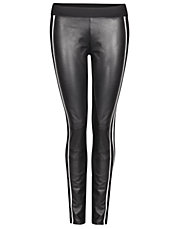 Faux Leather Racing Stripe Leggings