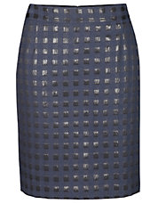 Square Jacquard Pencil Skirt