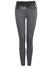Houndstooth Leggings with Trim