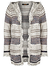 Plus Textured Striped Hooded Cardigan
