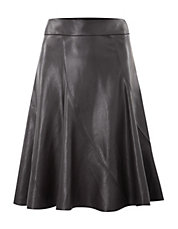 Faux Leather Godet Skirt