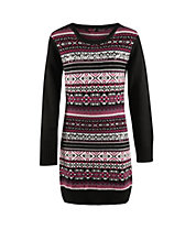 Jacquard Knit Sweater Dress