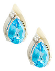 14K Yellow Gold Sterling Silver Diamond And BlueTopaz Earrings