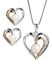 Sterling Silver 14K Yellow Gold Diamond And Pearl Heart Earring And Pendant Set