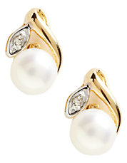 10K Yellow Gold Diamond And Half Drill 5mm Pearl Earrings