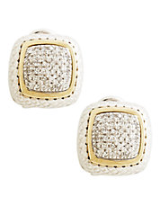 Sterling Silver 14K Yellow Gold And Diamond French Clip Earrings