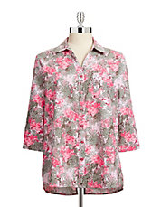 Three Quarter Sleeve Washable Printed Linen Blend Shirt