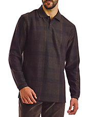 Glen Plaid Long Sleeve Polo