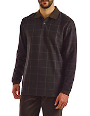 Windowpane Long Sleeve Polo
