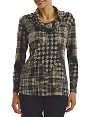 Petite Houndstooth Print Tunic