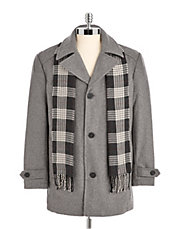Wool Coat with Scarf