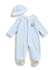 Infant Boys Chevron Bear Footie