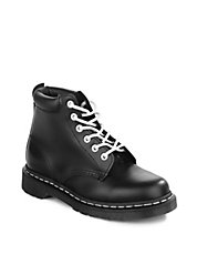 Smooth Contrast Lace-Up Boots