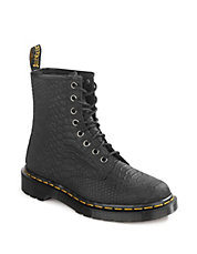 Snake Embossed Leather Boots