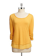 Petite Slub Knit Top with Contrast Trim