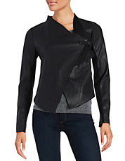Leatherette Flyaway Knit Jacket