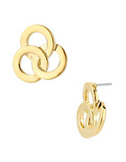 Gold Three Circle Stud Earring