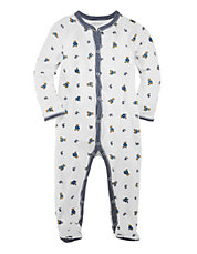 Bear Print Long Sleeve Footed Coverall