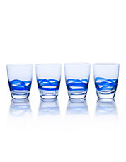 Admiral Cobalt 11.25 Ounce Double Old Fashioned Glass Set Of 4 Boxed