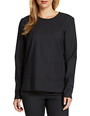 Wool Blend Pinstripe Woven Top