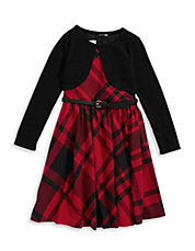 Belted Plaid Dress with Shrug