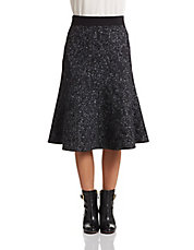 Reversible Wool-Blend Midi Skirt