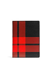Plaid Leather Passport Wallet