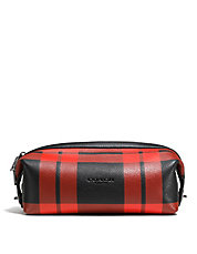 Plaid Leather Dopp Kit Pouch